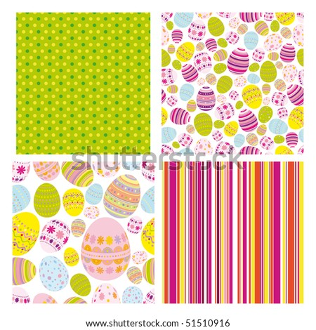 Easter set of seamless backgrounds - stock photo