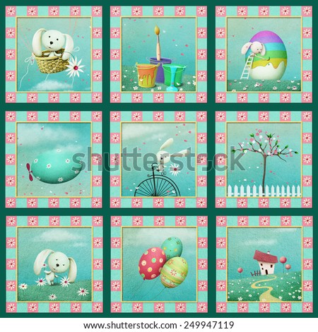 Easter set with various objects - stock photo
