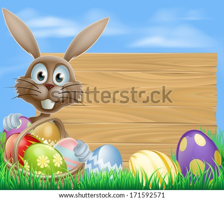 Easter sign with Easter bunny rabbit and Easter eggs - stock photo