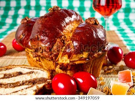 Easter sponge cake on green background - stock photo