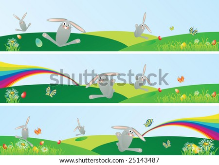 Easter spring web banner set with space for your text