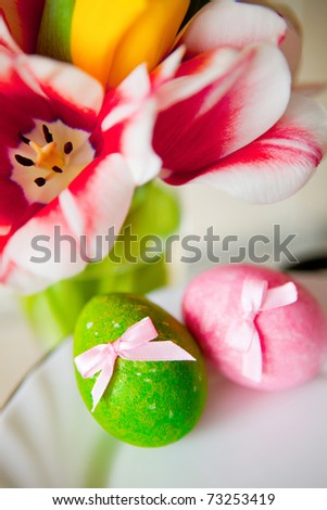 Easter still-life with flowers and eggs - stock photo