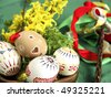 Easter - still-life with painted eggs - stock photo