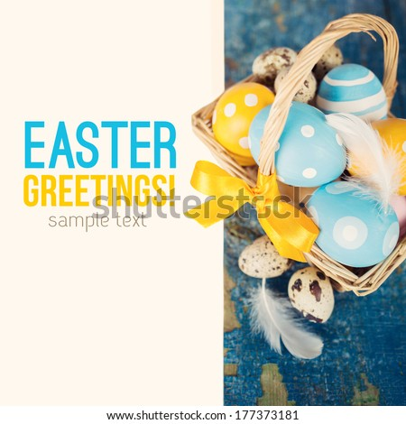 Easter still life with sample text - stock photo