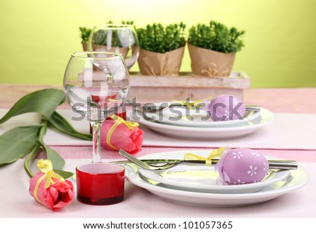 Easter table setting - stock photo