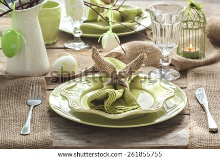 Easter table setting. Holiday Decorations. - stock photo
