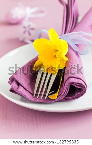 easter table setting with daffodil - stock photo