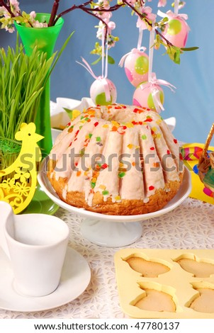 easter table with glazed ring cake