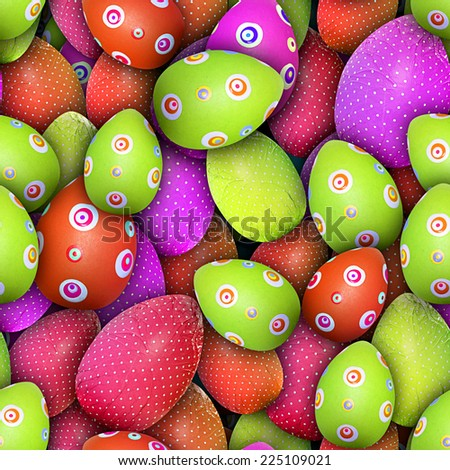 Easter theme: Dotted and circled Easter eggs (Seamless texture). It means you can place a sample side by side and repeat it infinitely or use it as material for 3D scenes/objects. - stock photo