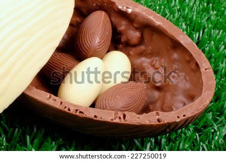 Easter theme: Easter eggs hunt detail - stock photo
