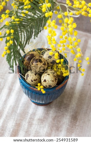 Easter time, Hand decorated Easter Eggs and speckled birds eggs in straw with a branch of colorful yellow clusters of mimosa flowers in a natural country Easter background - stock photo