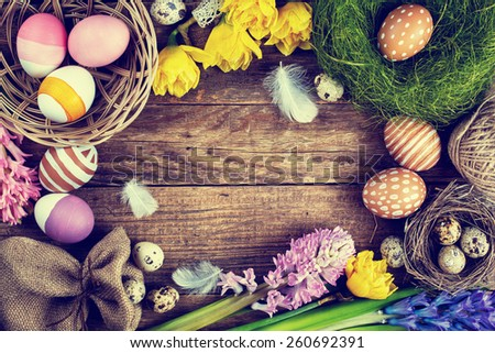 Easter Vintage background, Toned image - stock photo