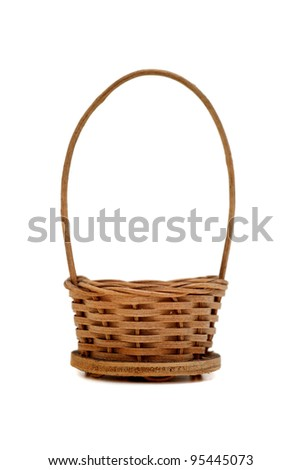 Easter wicker basket isolated  on white background