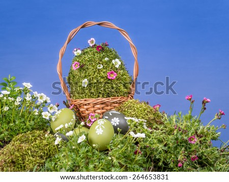Easter wicker basket with giant moss-grown egg and spring flowers and painted egss in the grass over blue sky - stock photo