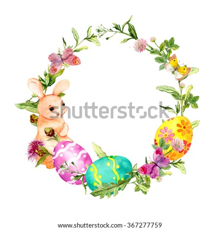 Easter Wreath Easter Eggs Grass Flowers Stock Illustration