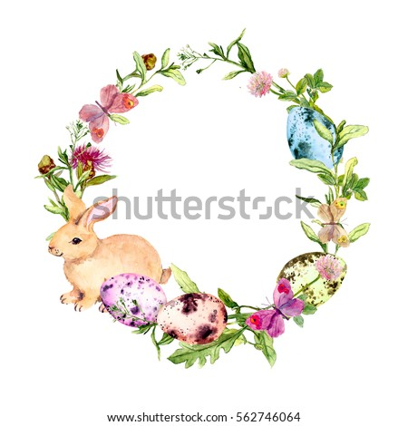 Easter Wreath Easter Bunny Colored Eggs Stock Illustration