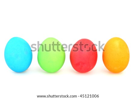 Eastereggs in front of a white studio background