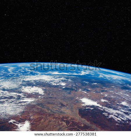 Eastern Australia from space with stars above. Elements of this image furnished by NASA.  - stock photo