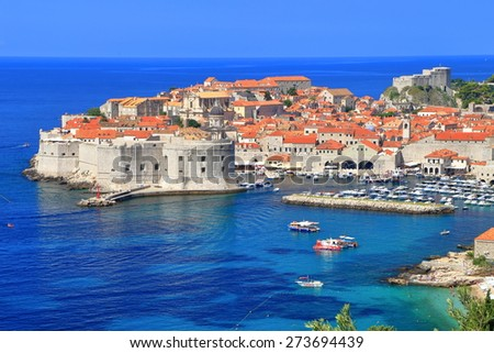 Eastern bastions and harbor of the Dubrovnik old town, Croatia
