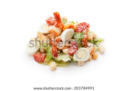 eastern caesar salad with shrimp on a white background - stock photo
