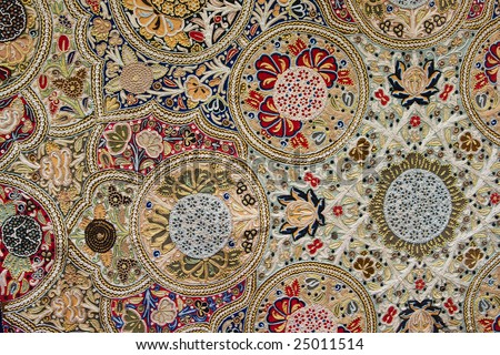 eastern carpet with colored floral pattern - stock photo
