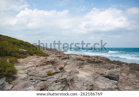 Eastern coast of the Isla Contoy in Mexico - stock photo