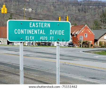 Eastern Continental divide sign in Banner Elk, NC