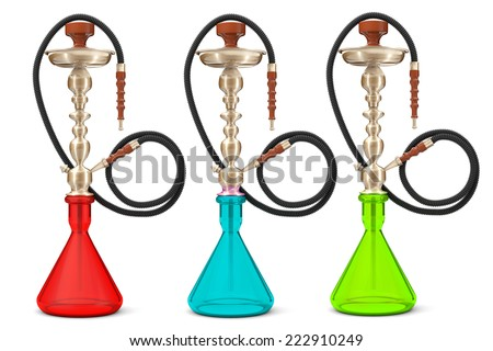 Eastern Glass Hookahs on a white background  - stock photo