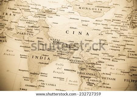 Eastern Globe map - stock photo