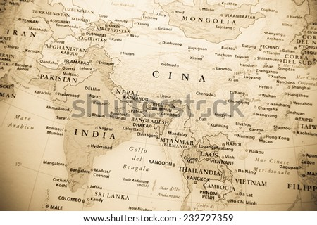 Eastern Globe map (Geographical view altered on colors/perspective and focus on the edge. Names can be partial or incomplete) - stock photo