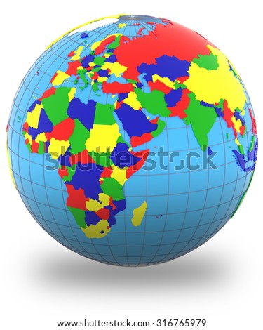 Eastern Hemisphere, political map of the world with countries in four colors, isolated on white background.  - stock photo