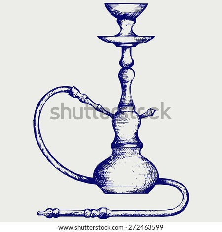 Eastern hookah. Doodle style. Raster version - stock photo