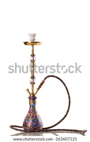 Eastern hookah on white background  - stock photo