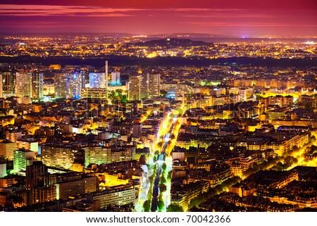 Eastern Paris at Night - stock photo
