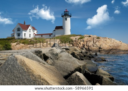 Eastern point lighthouse located off the coast of Gloucester, Massachusetts, USA - stock photo