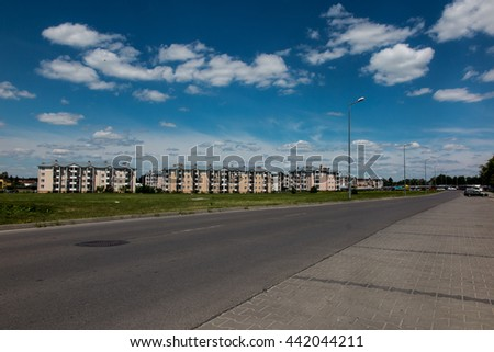 Eastern Poland, the city of Chelm near the Ukrainian border, one of the newer settlements of the city - stock photo