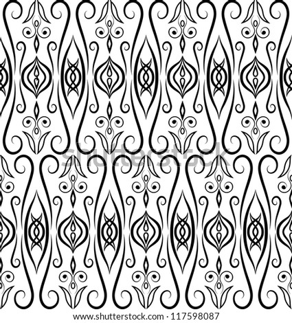 Eastern seamless pattern. Black and white