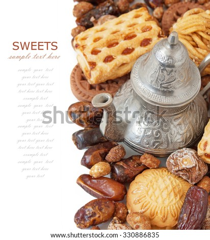 mixed metal vase eastern sweet still life nuts candy stock photo 414766525