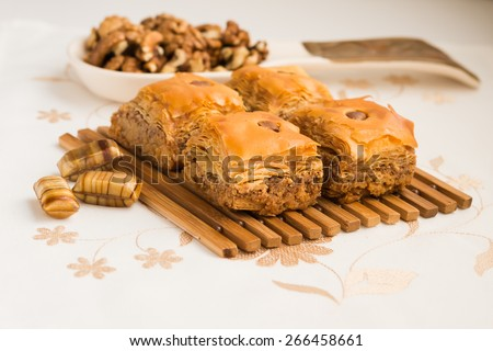 Eastern sweets. Arabic Traditional Celebratory Dessert. Baklava.  - stock photo