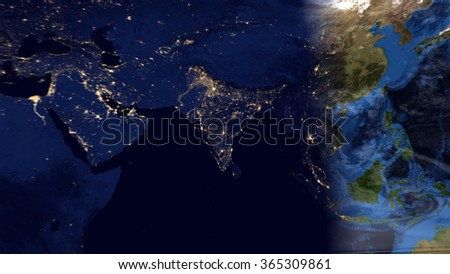 Eastern World - Planet Earth Night/Day Map Composition (Elements of this image furnished by NASA) - stock photo