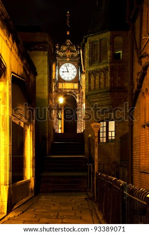 Eastgate clock in Chester lit up at night