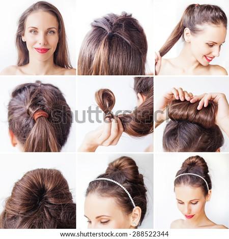 easy bridal korean bun updo tutorial stock photo 288522344