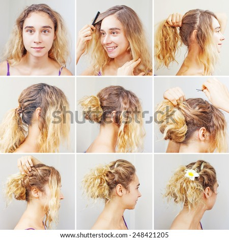 easy curly tutorial for a curly hair by beauty blogger - stock photo