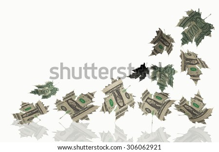 easy  money  - falling dollars like autumn leaves - sales, discounts, falling prices -