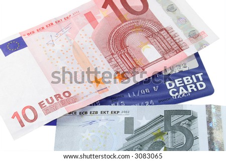 Easy money using a debit card to withdraw Euros - stock photo