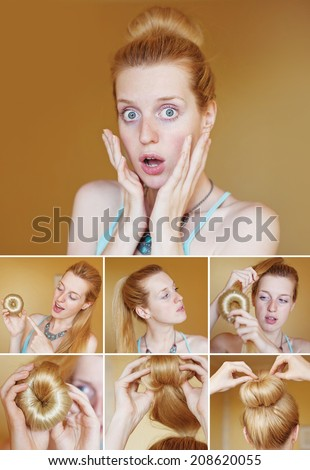 Easy neat hair bun tutorial for long and medium hair. Step by step guide by beauty blogger - stock photo