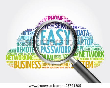 Easy Password word cloud with magnifying glass, business concept - stock photo