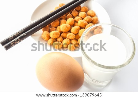 Easy protein meal with peanut ,milk and egg - stock photo