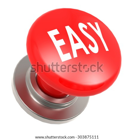 Easy red button image with hi-res rendered artwork that could be used for any graphic design.