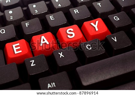 easy red button word on black keyboard - stock photo